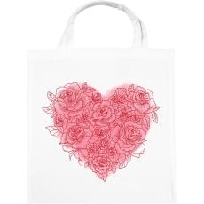 PRINTFASHION Rózsa szív - Vászontáska - Fehér