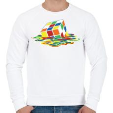 PRINTFASHION Rubik Kocka - Férfi pulóver - Fehér