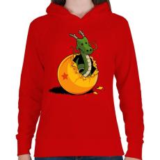 PRINTFASHION Sárkánygömb - Női kapucnis pulóver - Piros
