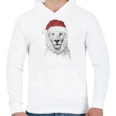 PRINTFASHION Santa lion - Férfi kapucnis pulóver - Fehér