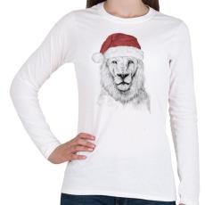 PRINTFASHION Santa lion - Női hosszú ujjú póló - Fehér