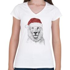 PRINTFASHION Santa lion - Női V-nyakú póló - Fehér