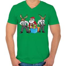 PRINTFASHION Santa Security - Férfi V-nyakú póló - Zöld