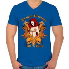 PRINTFASHION Sárkány - Férfi V-nyakú póló - Királykék