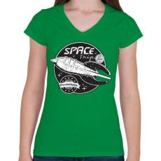 PRINTFASHION Sci-fi jelvény - Női V-nyakú póló - Zöld