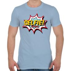 PRINTFASHION Selfie király - Férfi póló - Világoskék