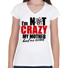PRINTFASHION Sheldon Crazy - Női V-nyakú póló - Fehér