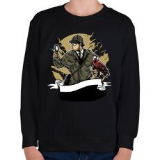 PRINTFASHION Sherlock Holmes - Gyerek pulóver - Fekete