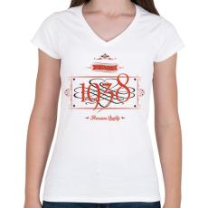 PRINTFASHION since-1938-red-black - Női V-nyakú póló - Fehér