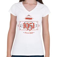 PRINTFASHION since-1951-red-black - Női V-nyakú póló - Fehér