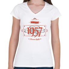 PRINTFASHION since-1957-red-black - Női V-nyakú póló - Fehér