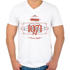 PRINTFASHION since-1971-red-black - Férfi V-nyakú póló - Fehér