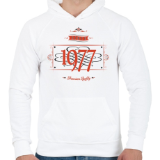 PRINTFASHION since-1977-red-black - Férfi kapucnis pulóver - Fehér