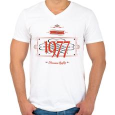 PRINTFASHION since-1977-red-black - Férfi V-nyakú póló - Fehér