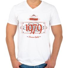 PRINTFASHION since-1979-red-black - Férfi V-nyakú póló - Fehér