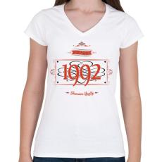 PRINTFASHION since-1992-red-black - Női V-nyakú póló - Fehér