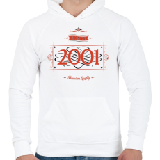 PRINTFASHION since-2001-red-black - Férfi kapucnis pulóver - Fehér