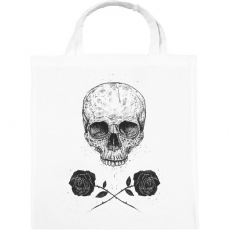 PRINTFASHION Skull N' Roses - Vászontáska - Fehér