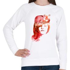 PRINTFASHION Sleep fox - Női pulóver - Fehér