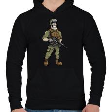 PRINTFASHION Soldier - Férfi kapucnis pulóver - Fekete