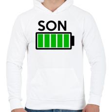 PRINTFASHION SON - Férfi kapucnis pulóver - Fehér