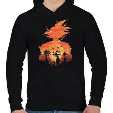 PRINTFASHION SonGoku holiday - Férfi kapucnis pulóver - Fekete