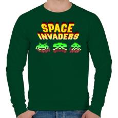 PRINTFASHION Space Invaders - Férfi pulóver - Sötétzöld