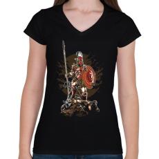 PRINTFASHION Sparta - Női V-nyakú póló - Fekete