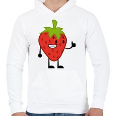 PRINTFASHION Strawberry  - Férfi kapucnis pulóver - Fehér