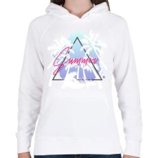 PRINTFASHION Summer - Női kapucnis pulóver - Fehér