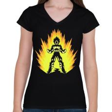 PRINTFASHION Super power - Női V-nyakú póló - Fekete