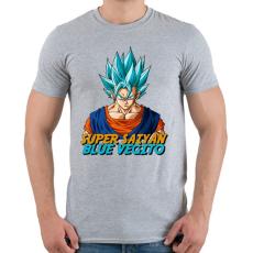 PRINTFASHION Super Saiyan Blue Vegito - Férfi póló - Sport szürke