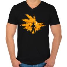 PRINTFASHION Super Saiyan - Férfi V-nyakú póló - Fekete