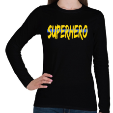 PRINTFASHION SUPERHERO - Női hosszú ujjú póló - Fekete