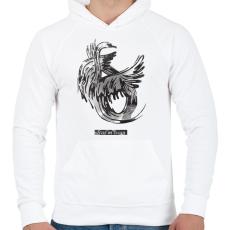 PRINTFASHION Swan - Férfi kapucnis pulóver - Fehér