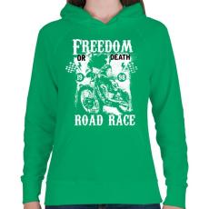PRINTFASHION Szabadság vagy halál - Női kapucnis pulóver - Zöld