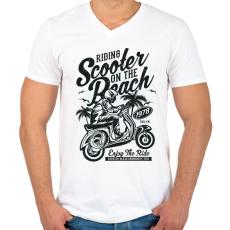 PRINTFASHION Száguldás a tengerparton - Férfi V-nyakú póló - Fehér