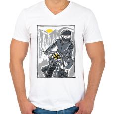 PRINTFASHION Száguldás - Férfi V-nyakú póló - Fehér