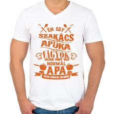 PRINTFASHION Szakács apuka - Férfi V-nyakú póló - Fehér