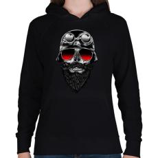 PRINTFASHION Szakállas motoros - Női kapucnis pulóver - Fekete