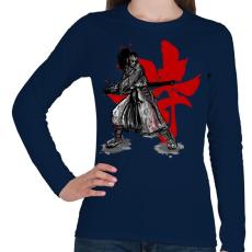 PRINTFASHION Szamuráj szellem - Női hosszú ujjú póló - Sötétkék