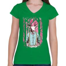 PRINTFASHION Szarvas - Női V-nyakú póló - Zöld