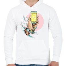 PRINTFASHION Szelfi - Férfi kapucnis pulóver - Fehér