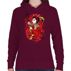 PRINTFASHION Szellemsárkány - Női kapucnis pulóver - Bordó