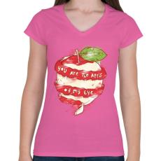 PRINTFASHION Szemem almája - Női V-nyakú póló - Rózsaszín