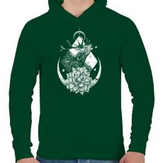 PRINTFASHION Szent szarvas - Férfi kapucnis pulóver - Sötétzöld