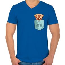 PRINTFASHION Szerelem első harapásra - Férfi V-nyakú póló - Királykék