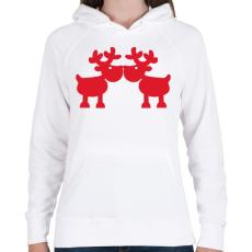 PRINTFASHION Szerelmes szarvasok - Női kapucnis pulóver - Fehér