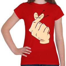 PRINTFASHION Szerelmes ujjak - Női póló - Piros
