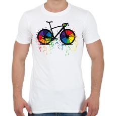 PRINTFASHION Színes bicikli - Férfi póló - Fehér